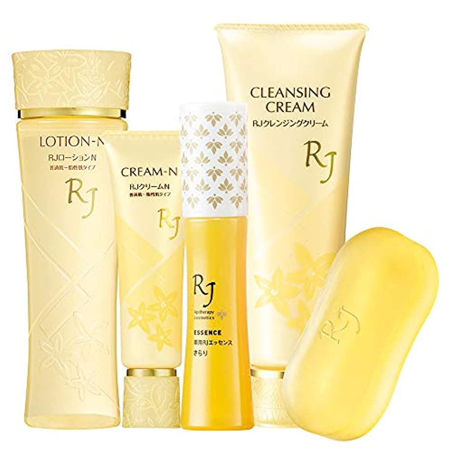 女性下重要なRJスキンケアNタイプ5点セット(RJスキンケアソープ?薬用RJエッセンスさらりセット)普通肌~脂性肌タイプ