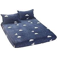 ZHIYUAN フランネルのベッドシーツと枕カバー、雲、セミダブル