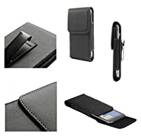 DFV mobile - Leather Flip Belt Clip Metal Case Holster Vertical for => PRESTIGIO MULTIPHONE 7600 DUO > Black