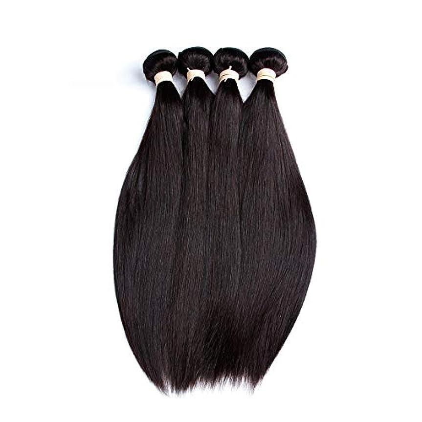 SRY-Wigファッション ファッションブラジルのレースクロージャー人間の髪の毛のかつら非レミー髪ストレート4×4レースクロージャーかつら赤ちゃんの髪 (Color : ブラック, Size : 20inch)