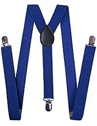 Y型サスペンダー 幅2.5cm ブルー
