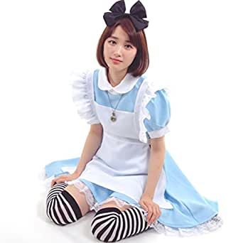 不思議の国のアリス 風 メイド服 衣装5点セット コスチューム レディース L