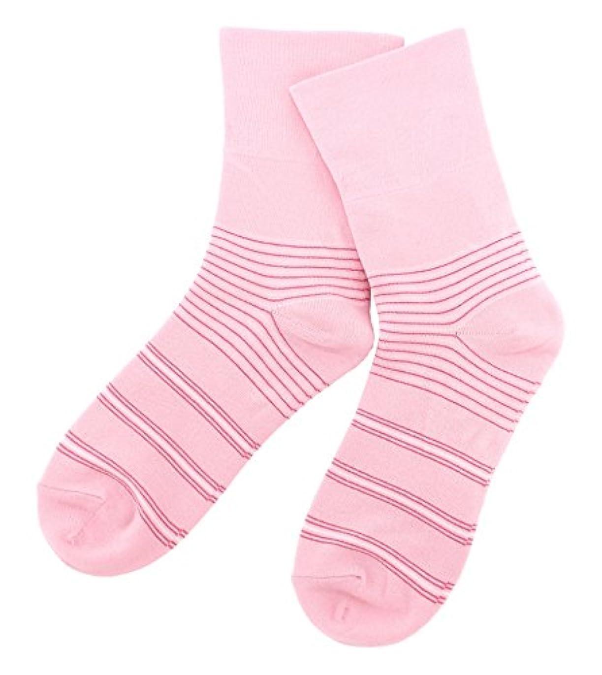 伝統的メロディーコード温むすび かかとケア靴下 【足うら美人しめつけないタイプ 女性用 22~24cm ボーダー柄 ピンク】 角質ケア 保湿 がさがさ つるつる ひび割れ うるおい 新潟県自社工場製