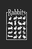 """Rabbits: Rabbits Notebook, Dotted Bullet (6"""" x 9"""" - 120 pages) ~ Animal Themed Notebook for Daily Journal, Diary, and Gift"""