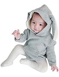38d664336a153 AMIGGOO 春物 韓国 子供服 うさぎさん ロンパース 新生児 スウェット パーカー トレーナー 綿 肌着 キッズつなぎ 長袖 カバーオール 女の子  フード付き 出産祝い…