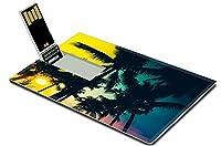 Luxlady 32GB USBフラッシュドライブ2.0メモリスティッククレジットカードサイズシルエットPalm Tree Vintage Effect Filter and Leakフィルタ効果イメージ37539047