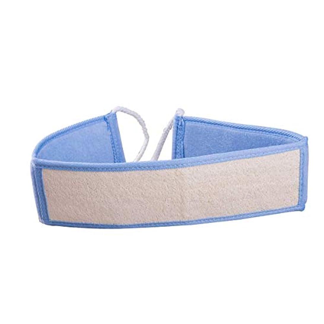 腹部思慮のないステージROSENICE ロングハンドルバスタオルロファソングバスブラシラビングタオル(ブルー)