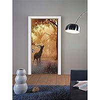 swsongx 3Dドアウォールステッカー雪クリスマスイブエルクドアステッカービニールドア壁画森ヨーロッパ家の装飾壁紙木製ドアリフォームデカール77x200cm
