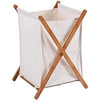 Moon _娘Household Folding Bamboo x-frame Laundry Hamper服ストレージバスケットBinバスルームバッグ22lbsロード