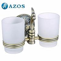 AZOS 壁付 (2つ掛け) コップホルダー 歯ブラシホルダー 壁掛け 浴室用設備 真鍮の色 GJKE2604D