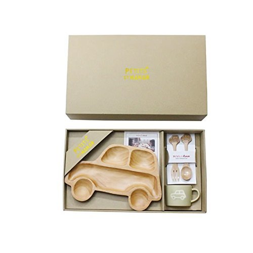 SPICE OF LIFE 木製食器 キッズ食器3点ギフトセット(トレイ/マグ/カトラリー) プチママン カー 箱入り 離乳食 出産祝 ギフト 子供用 SFPS1040