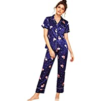 Floerns Women's Printed Pajamas Set Button Down Sleepwear Nightwear Soft Pj Lounge Sets