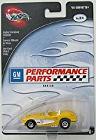 100% HOT WHEELS 1958 CORVETTE GM Performance Parts Series YELLOW 1:64 Scale Diecast Car (Dated 2002)