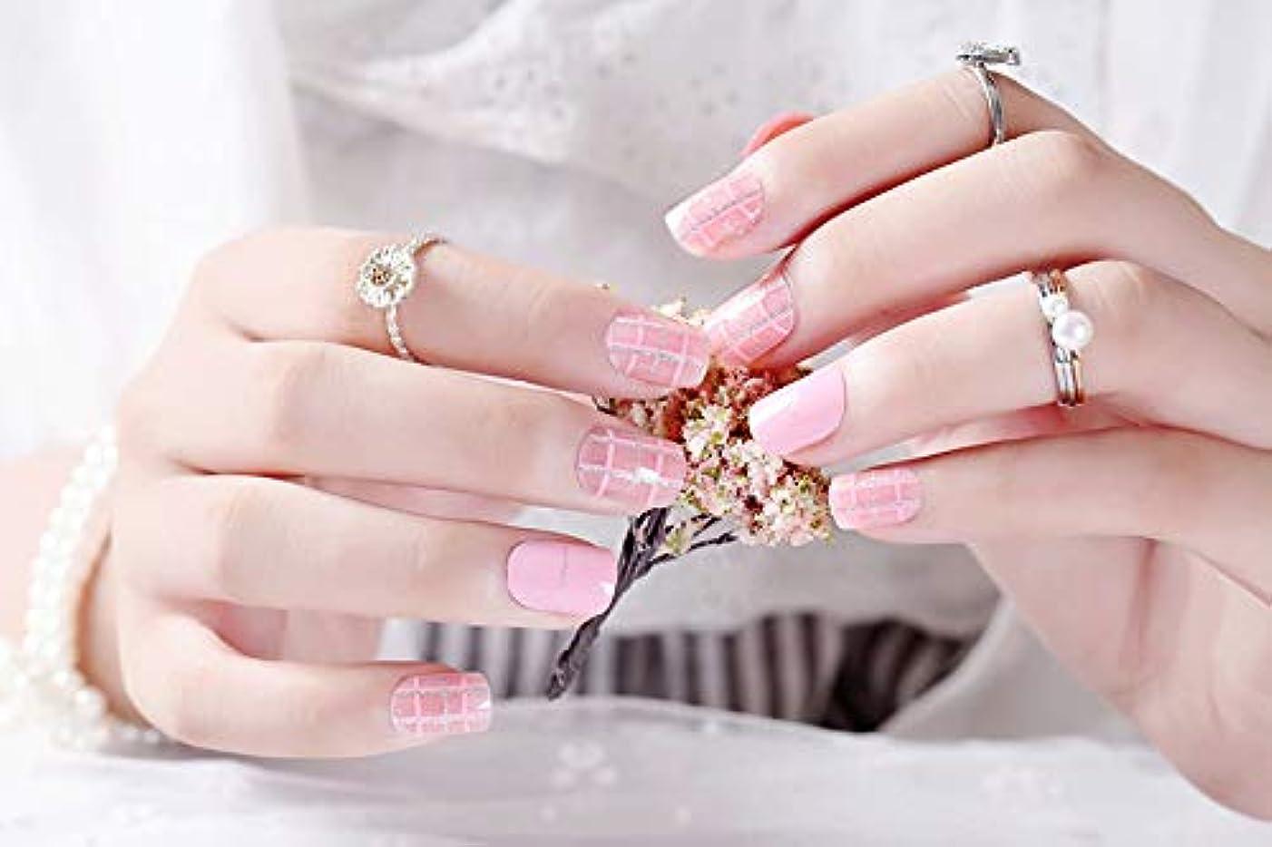 医薬品手首ヘロイン24個 フレンチネイル さわやかなファッション 雑誌のデザイン 優雅な手作りネイルチップ 美しい星空 (ピンク金線)