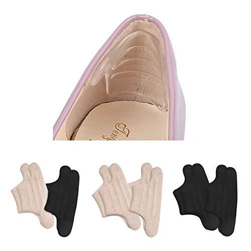 靴ずれ防止 4枚入 パンプス かかとパッド くつずれ防止パッド インソール 靴擦れ防止 T型踵 ジェルヒール サイズ調整 パカパカ 防止 クッション (ブラック2枚+ベージュ2枚)
