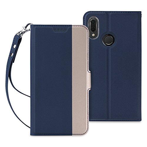 Huawei P20 Lite ケース 手帳型 超耐磨高級PUレザー スタンド機能 ストラップ 財布型 (Huawei Liteケース ブルー) QiCASE QiCASE.JP
