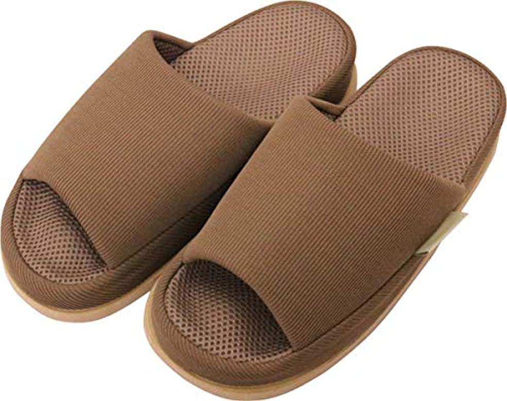 足で癒す リフレクソロジースリッパ リフレ 指の付け根 ブラウン L
