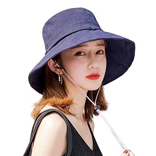 UVカット 帽子 ハット レディース 日よけ帽子 紫外線対策 日焼け防止 熱中症予防 折りたたみ つば広 軽量 おしゃれ 可愛い 婦人用 ハット 旅行用 日よけ 日射し 海 夏季 女優帽 小顔効果抜群 (ネイビー)