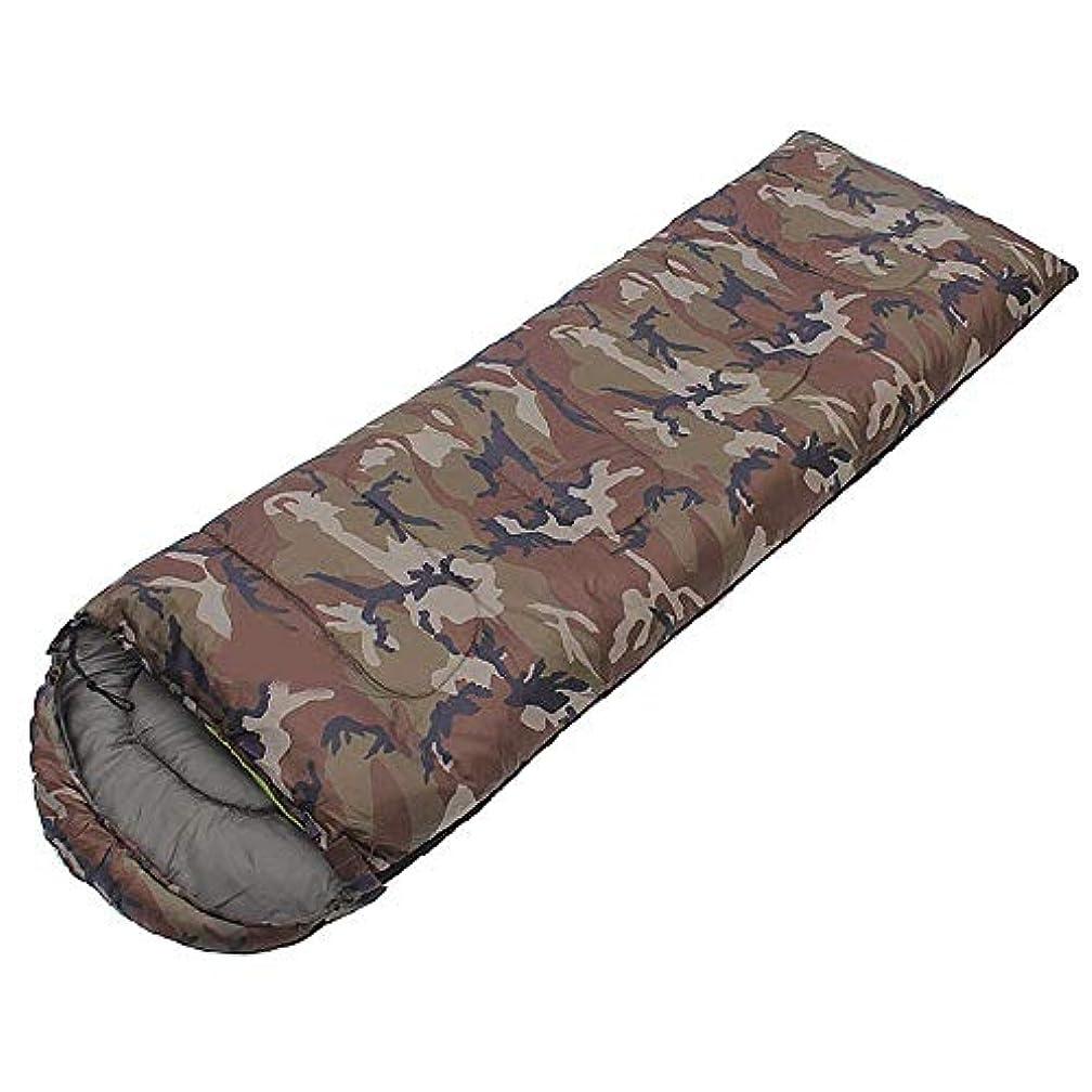 是正チューインガムアウトドア迷彩キャンプ大人の寝袋フード付きコットンライト防水暖かい3-4シーズンエンベロープ屋内用スリーピングパッド屋外旅行ハイキングアクティビティ