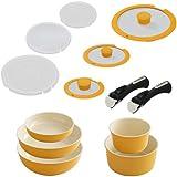 アイリスオーヤマ 鍋 フライパン セット 「セラミックカラーパン」 取っ手の取れる オレンジ セット13 H-CC-SE13
