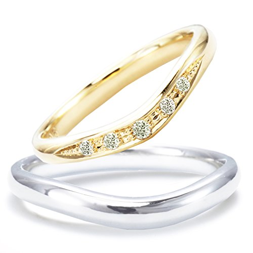 [ミワホウセキ] miwahouseki 結婚指輪 プラチナ & K18ゴールド ダイヤモンド マリッジリング