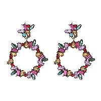 女性のためのPresockのイヤリング、良質マルチカラークリスタルファッションドロップイヤリングのための女性女の子パーティーステートメントイヤリング