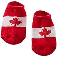 2枚組【カナダの国旗]ソフトコットンアンチスリップアンクルソックス赤ちゃんのため、0-2歳