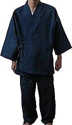 デニムでしっかりしているのに柔らかい デニム作務衣(紺)