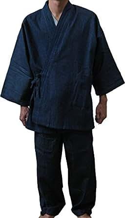 デニムでしっかりしているのに柔らかい デニム作務衣(紺) M