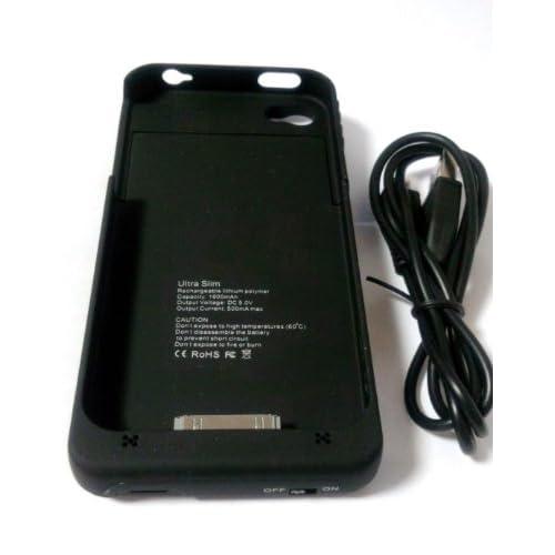 iPhone4/4S専用 バッテリー付き保護ケース  大容量1900mAh zakka-townオリジナル JAN:4582480661002 (ブラック)