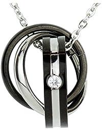 BellePlage(ベルプラジェ) メンズ トリプル リング ネックレス シルバー チェーン ネックレスケース & ギャランティーカード