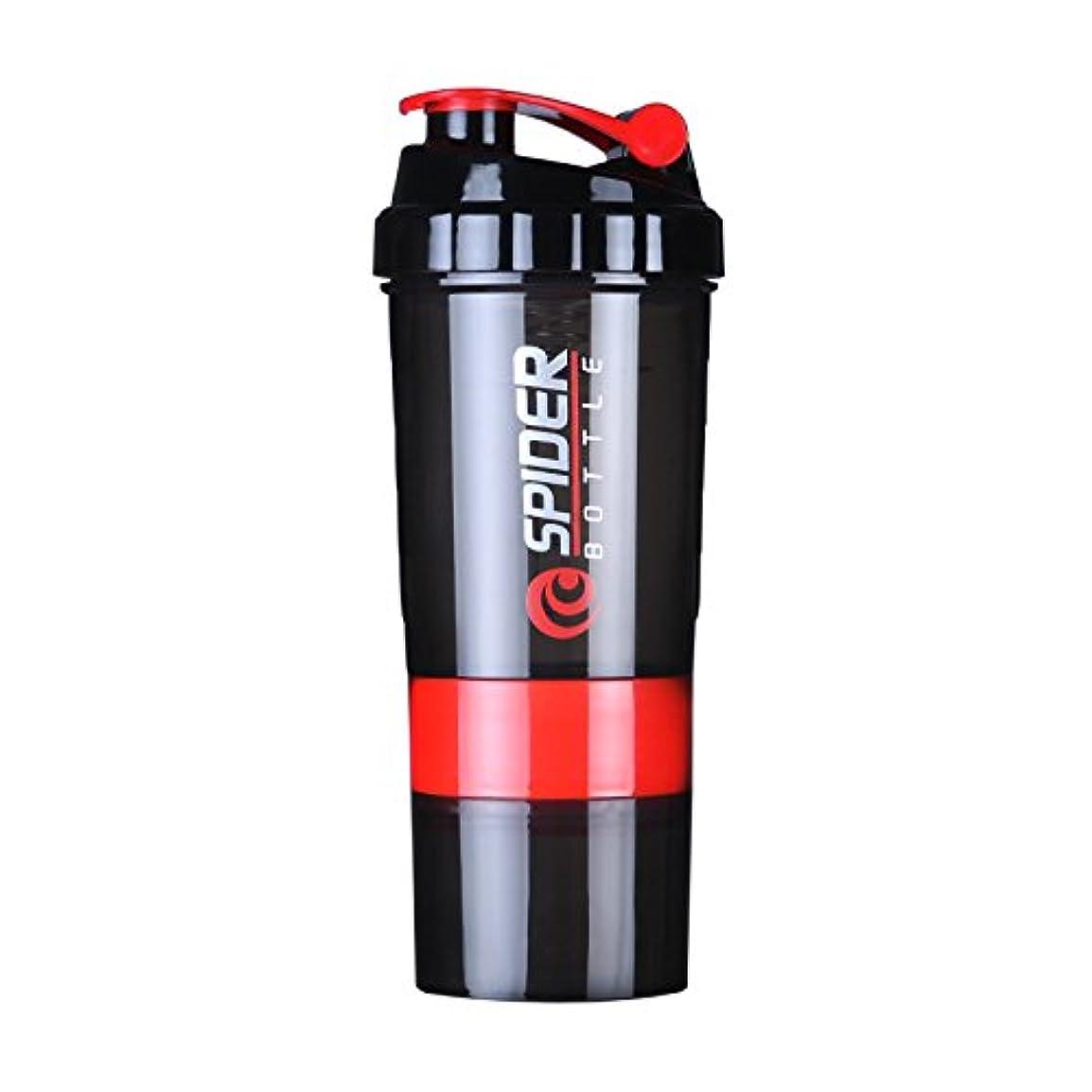 表面同化する細部Quner プロテインシェイカー ボトル スポーツボトル 水筒 600ml シェーカーボトル 目盛り 3層 プラスチック フィットネス ダイエット コンテナ付き サプリケース