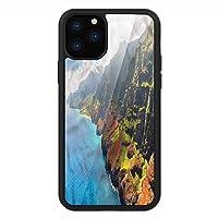 iPhone 11 Pro Max 用 強化ガラスケース クリア 薄型 耐衝撃 黒 カバーケース ハワイアン アイランド・サンシャインパノラマ iPhone 11 Pro 2019用 iPhone11 Pro Maxケース用