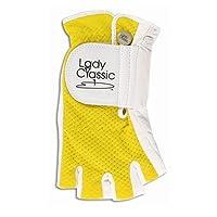 Lady Classic Cabretta 1/2 Finger Golf Glove Yellow XLarge RH