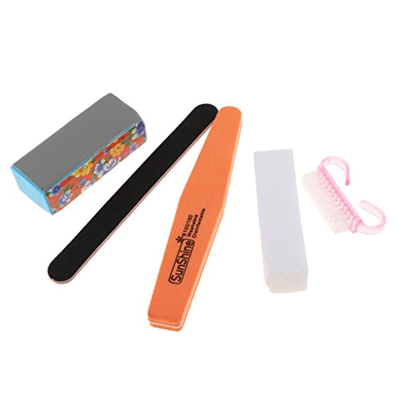 研磨剤買い物に行く推定ネイルマニキュア&ペディキュアツールセット、バッファリングバッファサンディングブロックファイル、クリーンブラシ