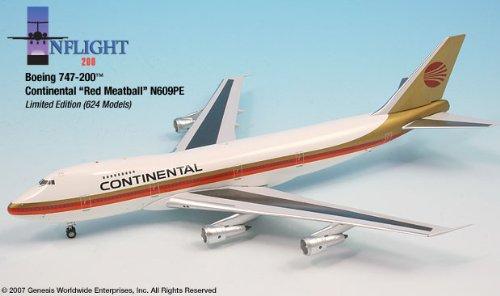 1: 200 インフライト Continental 航空 ボーイング 747-200 Red Meatball (並行輸入)