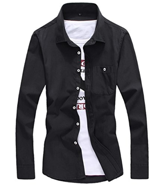 [スゴフィ]SGFY ドレスシャツ メンズ 長袖 スリム ビジネス カジュアル シンプル おしゃれ 襟付き カッターシャツ フィット 無地 8色展開 (2XL, ブラック)