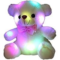 しあわせ倉庫 楽しく光る レインボー クマ ぬいぐるみ ふわふわ LED テディベア 誕生日 お祝い プレゼント 贈り物 ギフト (ホワイト)