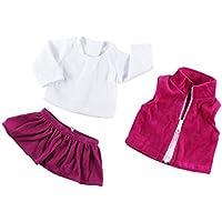 Baosity ファンシージーンズ シャツ プリーツドレス 18インチアメリカンガールドールのため カジュアル ドールアクセサリー 3色選ぶ - 01