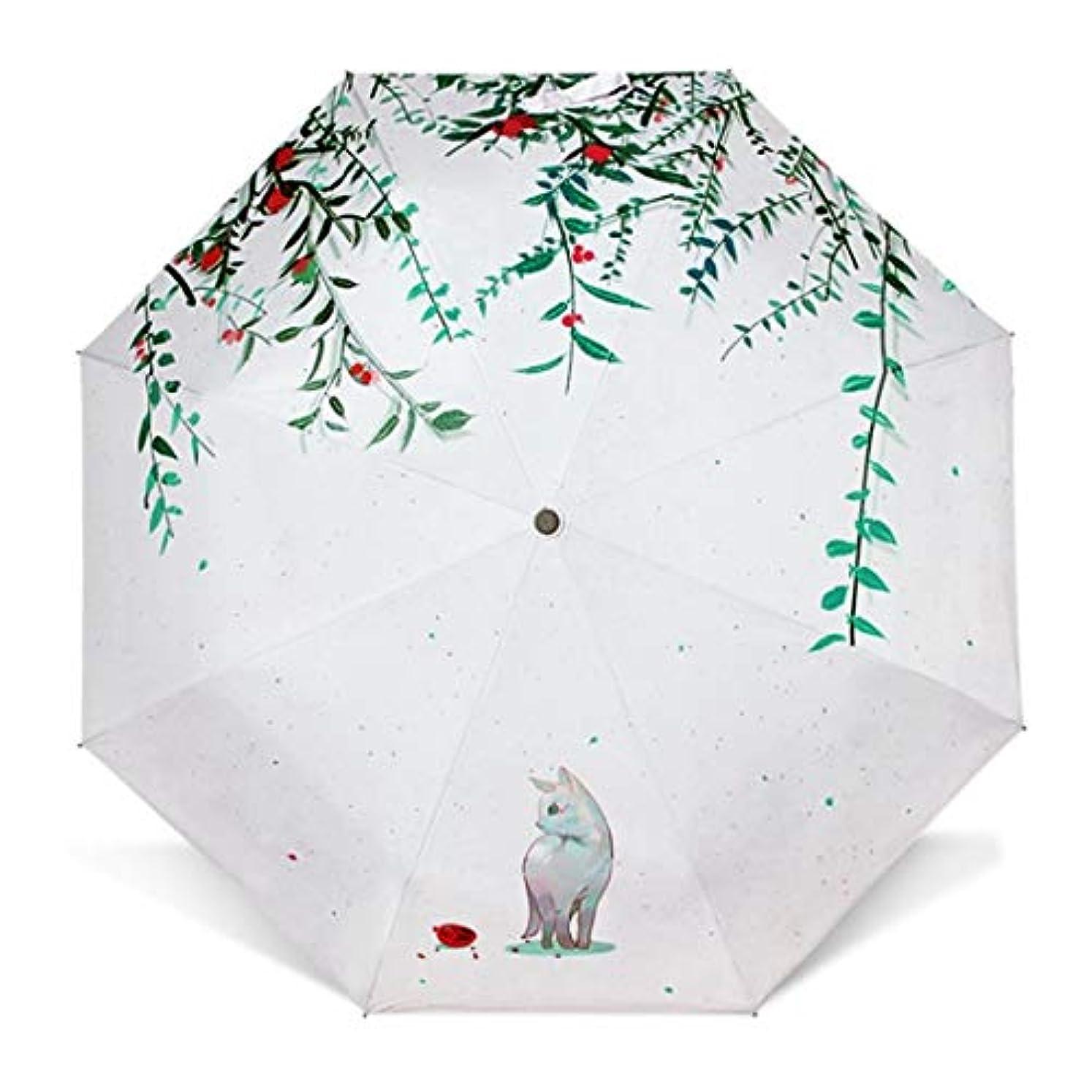 売上高無礼に不調和HOHYLLYA 小さな新鮮な日傘/三つ折り猫の傘/日焼け防止クリエイティブ日傘傘 sunshade (Color : ホワイト)