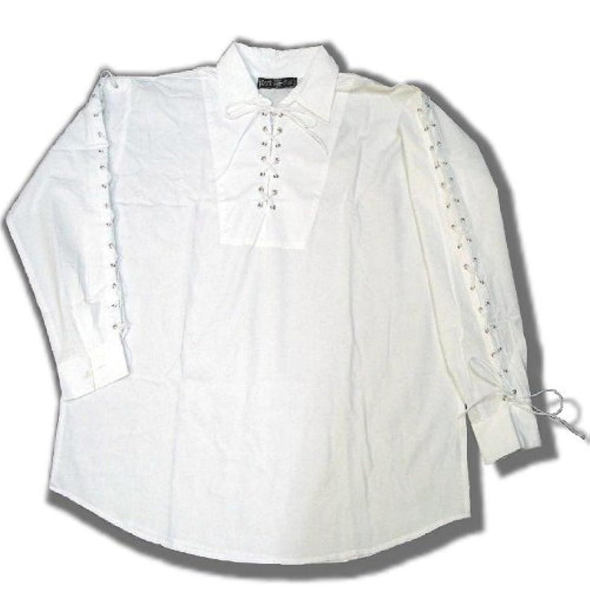 重量重量スペイン語(ダークスター) DARK STAR UK ゴシック 編み上げ絞りロープ 大きいサイズ メンズ 長袖 シャツ 白