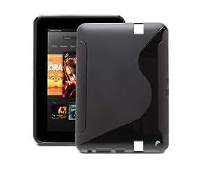 Amazon Kindle Fire HD 7インチ用 おしゃれなS字ライン TPUケース  ブラック