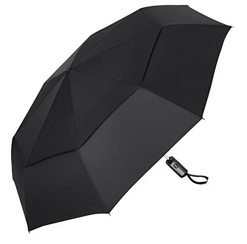 (アドンルル)adunlulu折り畳み傘 2重構造 耐強風 梅雨対策 ワンタッチ自動開閉 折りたたみ傘 高強度グラスファイバー 大型120cm 210T撥水加工 収納ケース付 black
