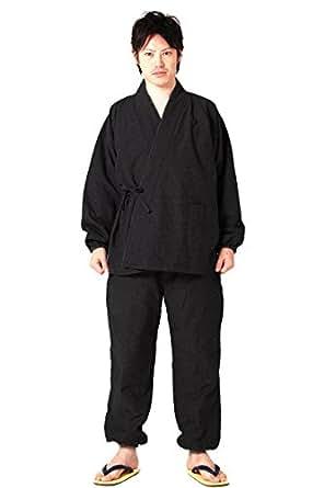 (キョウエツ) KYOETSU 冬 メンズあったか作務衣 中綿入り 紬風生地 裏フリース 16 (3L, 黒)