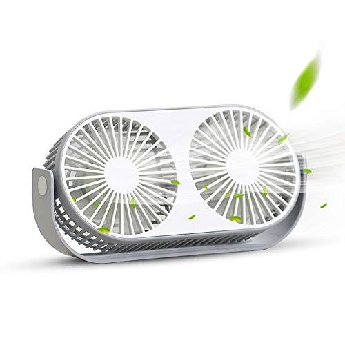USB扇風機 卓上扇風機 DUTISON 小型 静音 3段階調整 360°角度調節 ミニ扇風機 ファン強風 コンパクト 軽量 家庭 オフィス 会社デスク 車内に適用 ダブルファン構造 熱中症対策