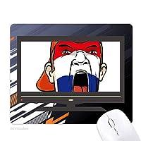 オランダの旗の顔の化粧マスクを叫んでいるキャップ ノンスリップラバーマウスパッドはコンピュータゲームのオフィス