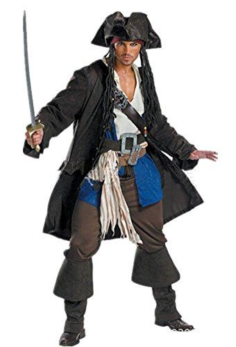 HIMOE パイレーツ・オブ・カリビアン ハロウィン衣装 パイレーツ オブ カリビアン 海賊 ジャックスパロウ コスプレ コスチューム 男性 仮装 クリスマスコスプレ 衣装 (ワンサイズ(身長:175-180cm))