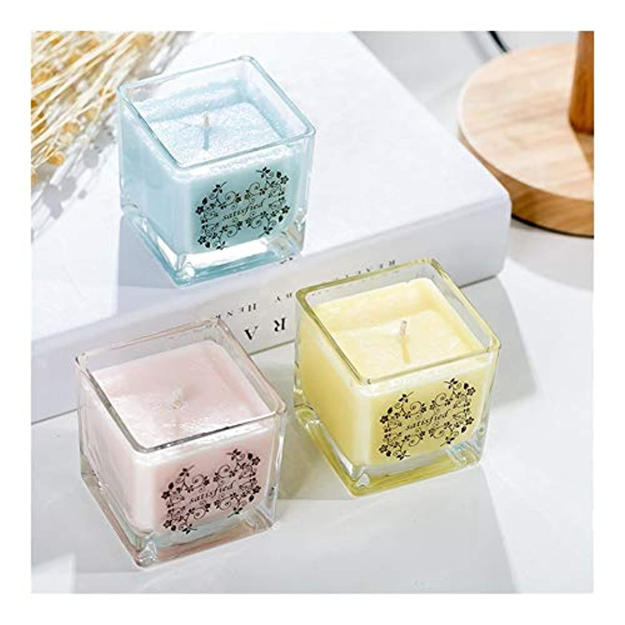 昇進コメンテーターセラーACAO 正方形の無煙ガラスの大豆の香料入りの蝋燭の屋内新鮮な空気のラベンダーの香り (色 : Lemon)