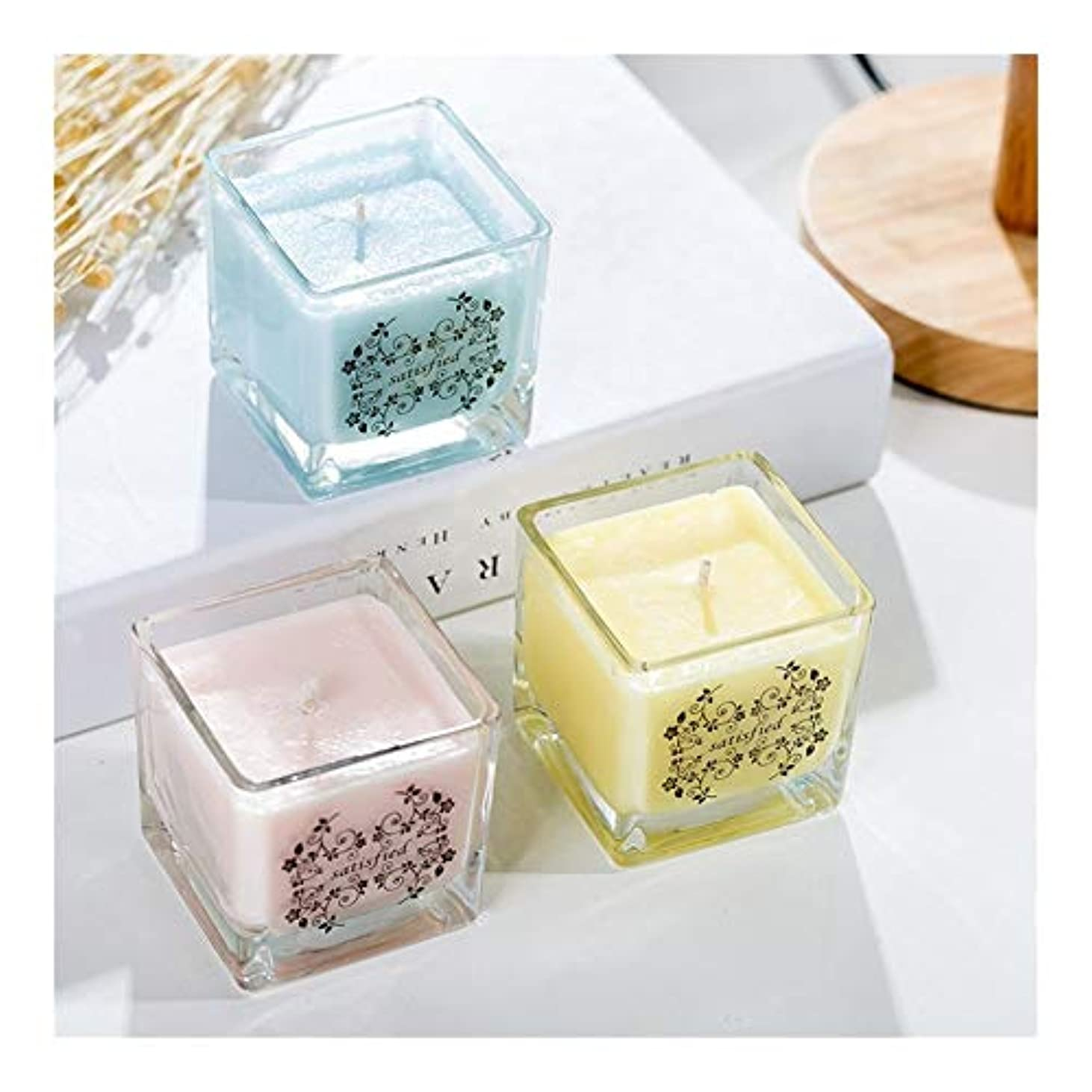 イタリアの保有者銛Guomao 正方形の無煙ガラスの大豆の香料入りの蝋燭の屋内新鮮な空気のラベンダーの香り (色 : Night scent)
