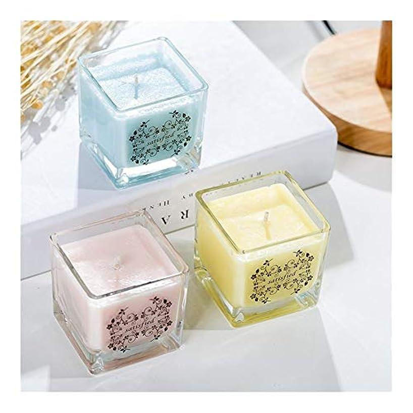六警報約束するGuomao 正方形の無煙ガラスの大豆の香料入りの蝋燭の屋内新鮮な空気のラベンダーの香り (色 : Night scent)